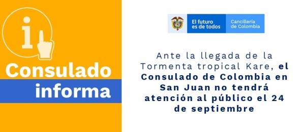 El Consulado de Colombia en San Juan no tendrá atención al público el 24 de septiembre