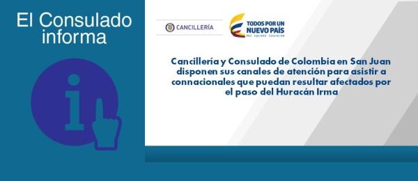 Cancillería y Consulado de Colombia en San Juan disponen sus canales de atención para asistir a connacionales que puedan resultar afectados por el Huracán Irma