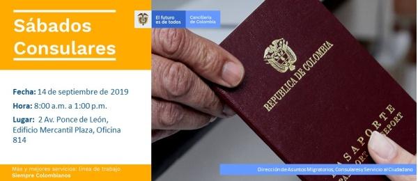 Consulado de Colombia en San Juan realizará la jornada de Sábado Consular el 14 de septiembre