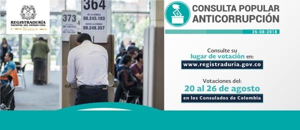 Consulado de Colombia en San Juan publica las actas con la designación de los jurados de votación para la Consulta Popular Anticorrupción que se realizará del 20 al 26 de agosto