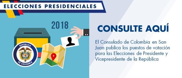 Consulado de Colombia en San Juan publica los puestos de votación para las Elecciones de Presidente y Vicepresidente de la República