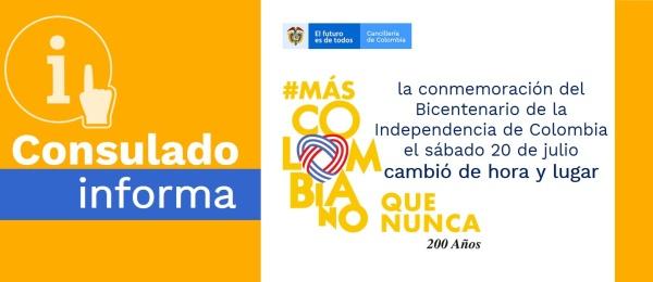 El Consulado en San Juan de Puerto Rico informa que la conmemoración del Bicentenario de la Independencia de Colombia el sábado 20 de julio cambió de hora y lugar